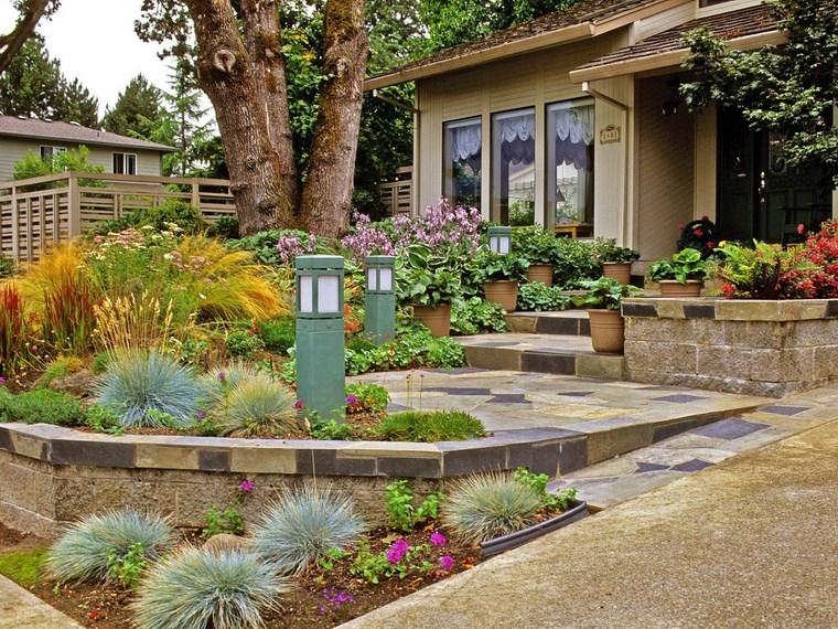 porches jardín entrada flores plantas escaleras ideas