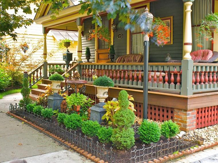 porches jardín estilo victoriano plantas ideas