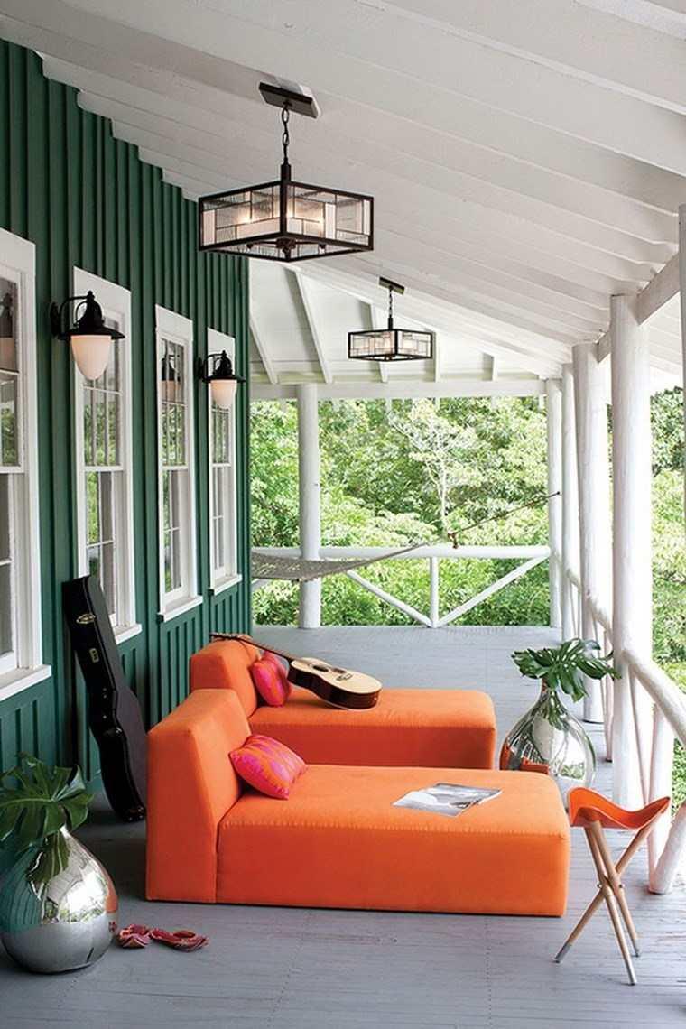 porches jardín muebles color naranja llamativo ideas