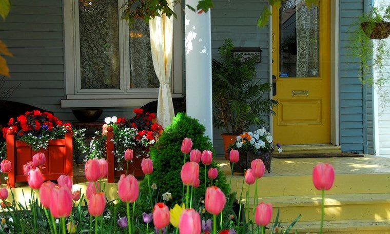 porches jardin pequeño tulipanes ideas