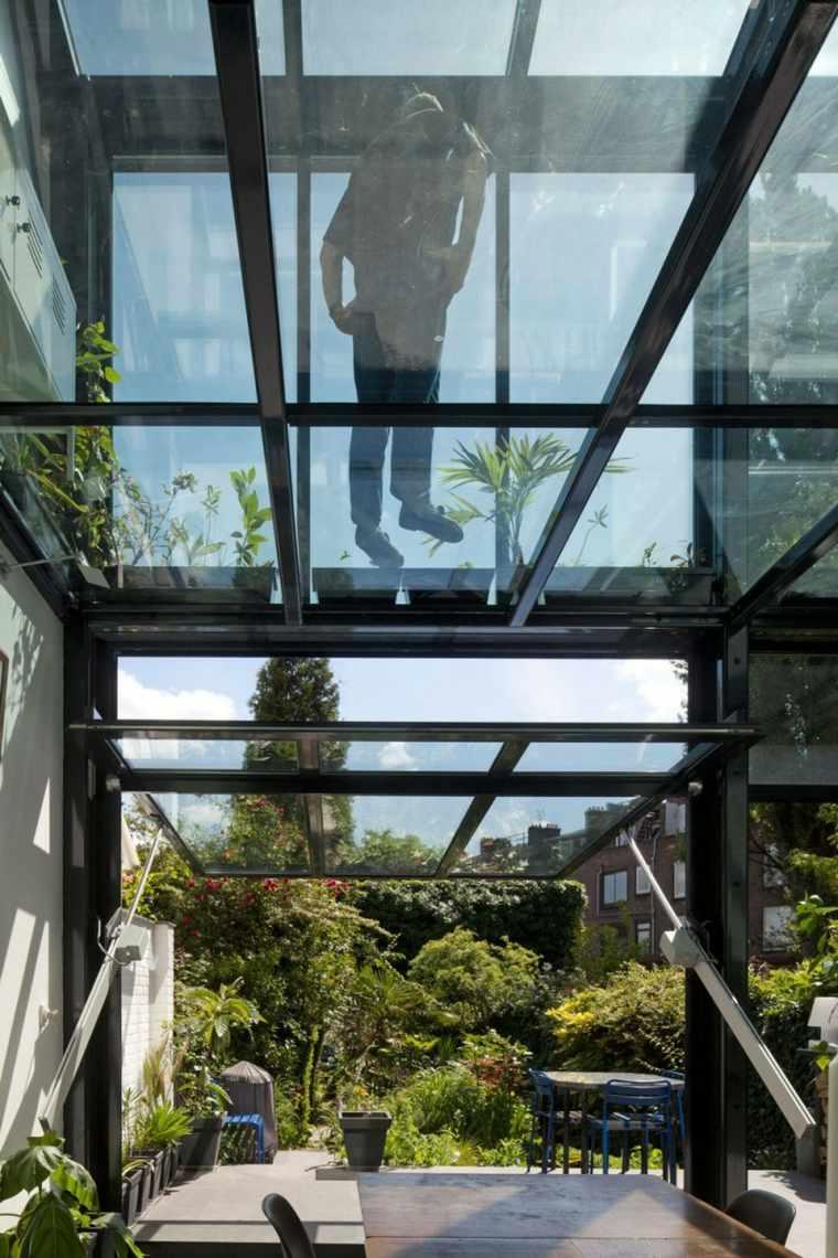 puerta techo crital casa moderna ideas