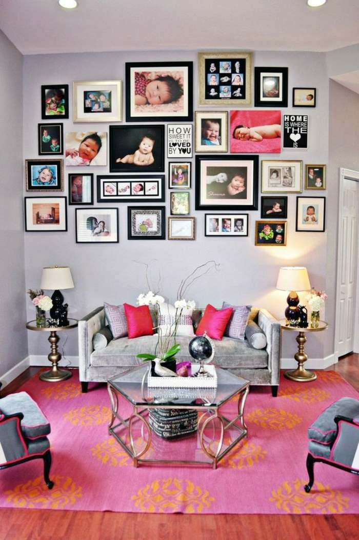 rosa detalles paredes muebles cojines