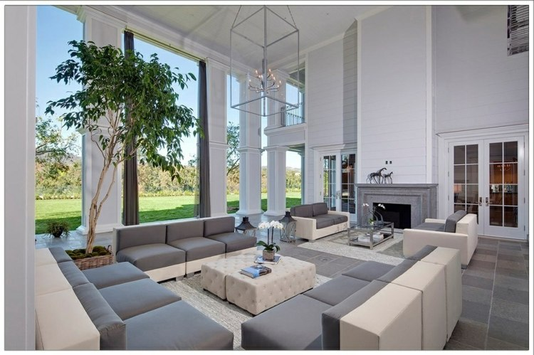 salón grande en blanco gris
