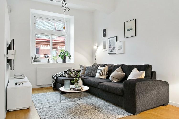 salón pequeño sofá color gris