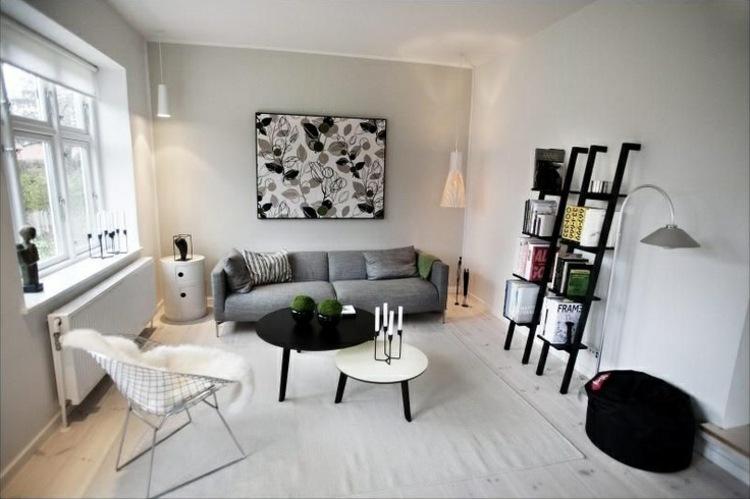 salón pequeño sofá gris