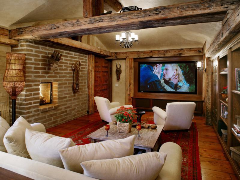 salón rústico vigas muebles modernos