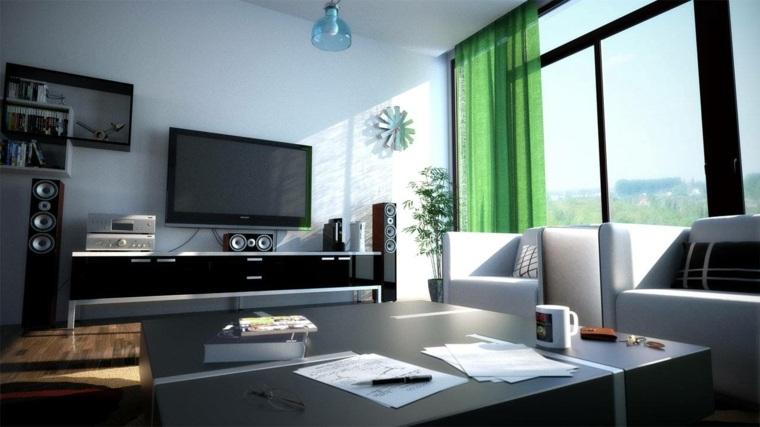 sala estar cortina color verde