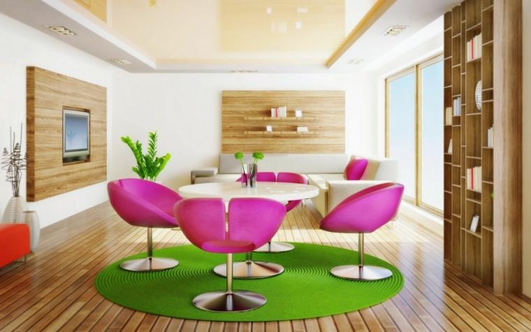salon comedor alfombra verde