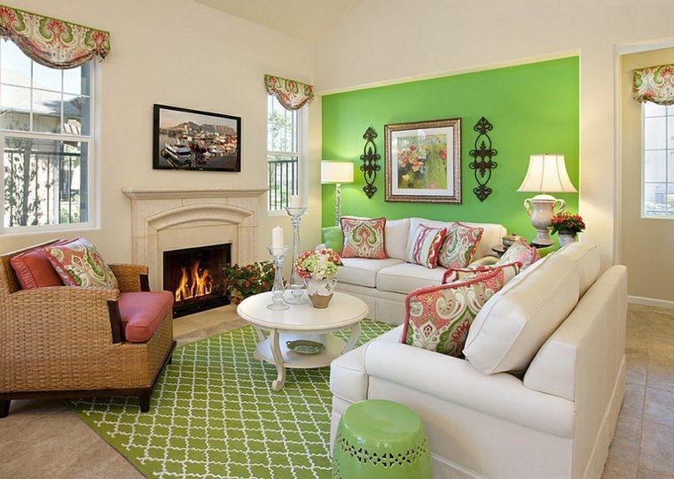 salon estilo retro pared verde