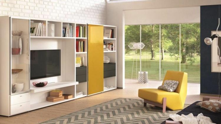 Muebles tv integrados con biblioteca 75 ideas modernas - Mueble escritorio moderno ...