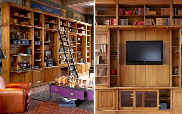 Muebles TV integrados con biblioteca - 75 ideas modernas -
