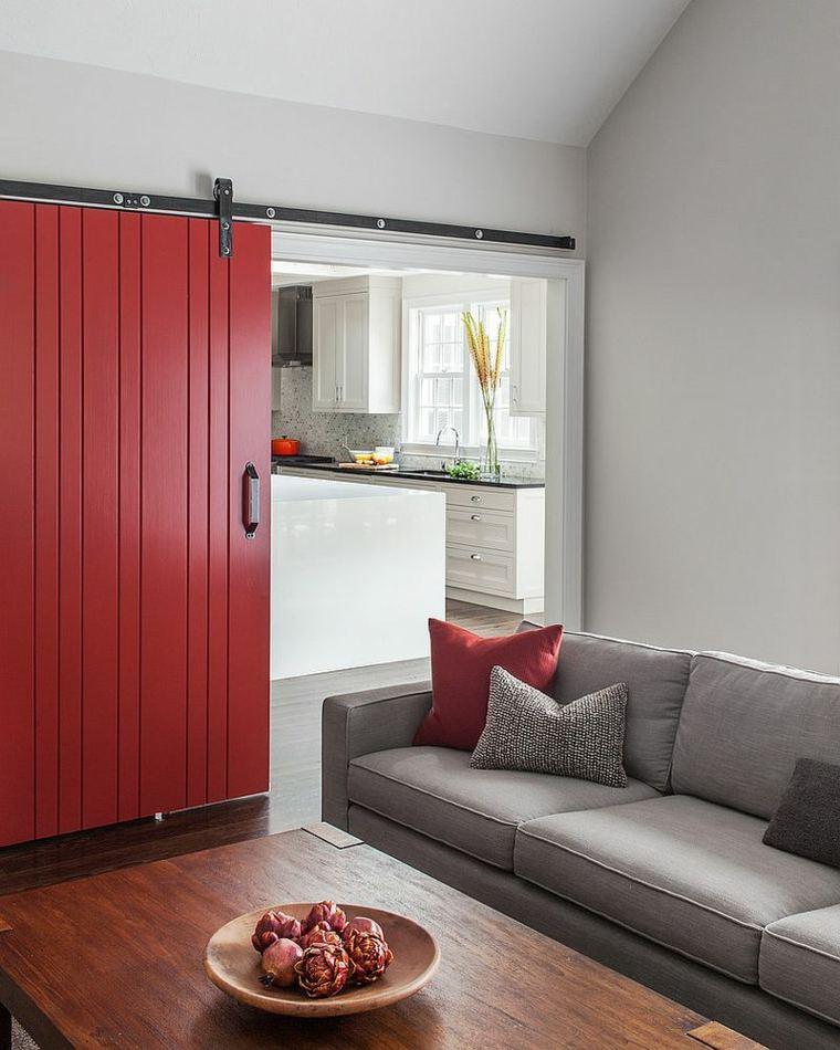 salon cocina separados puerta deslizable roja ideas