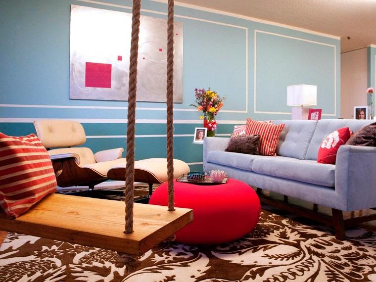 salon columpio otomana roja sofa azul ideas