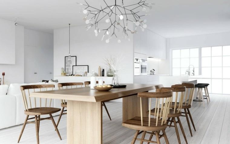 salon comedor conjunto muebles madera