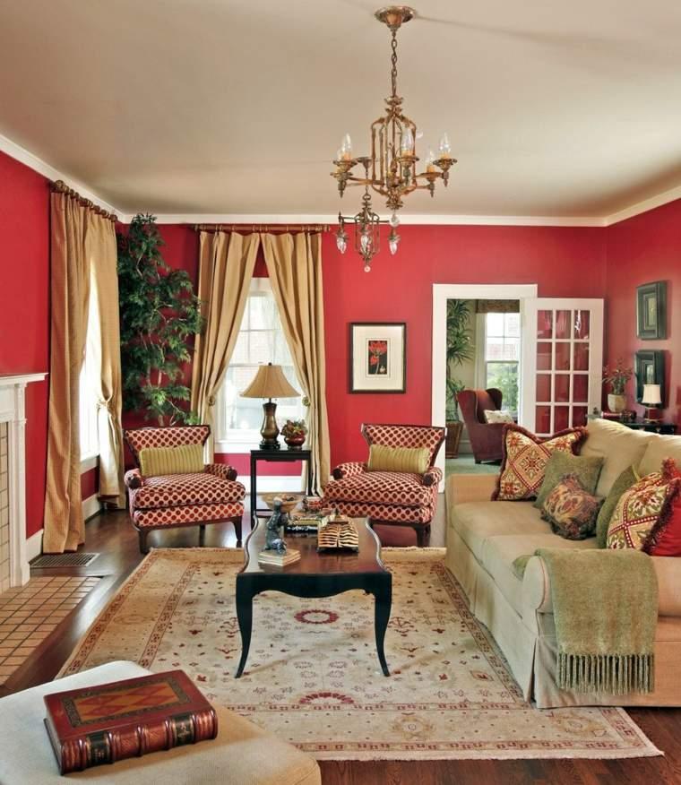 salon diseno retro paredes rojas ideas