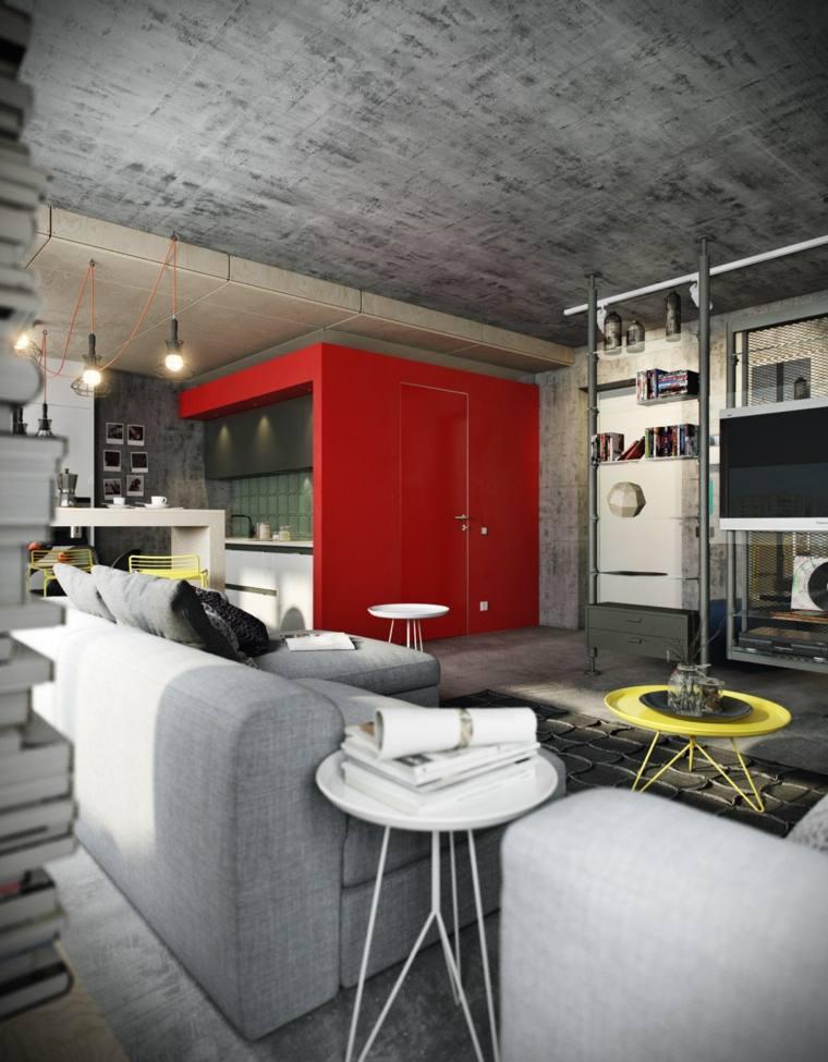 salon industrial pared entrada roja ideas
