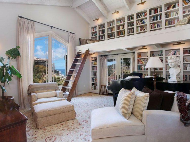 salón librería diseño moderno