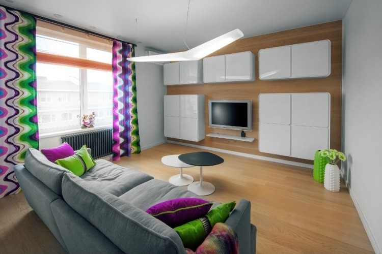 salon moderno pared armarios blancos flotantes ideas