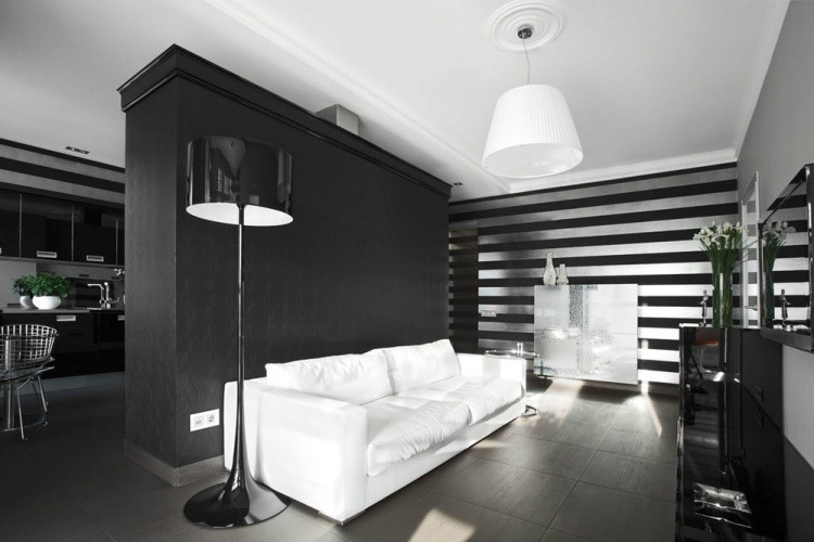 salon moderno pared color negro blanco ideas
