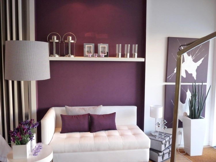 salon moderno pared color purpura ideas