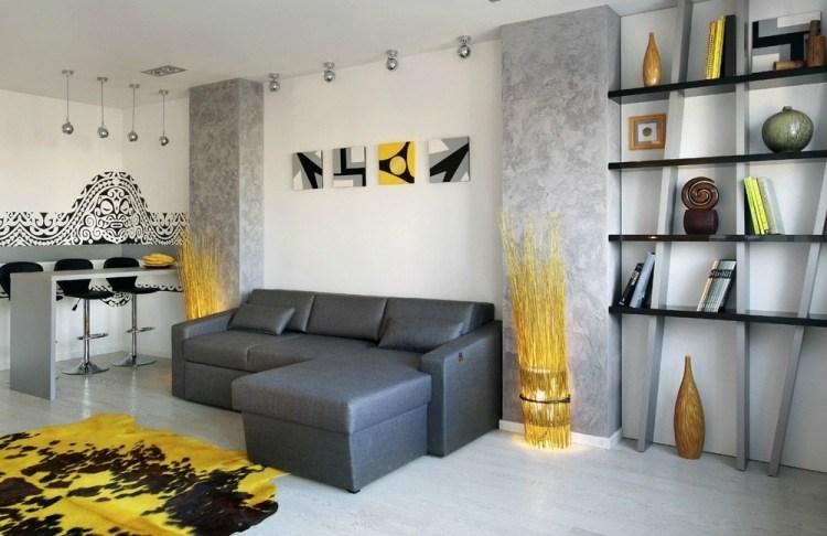 Wohnzimmer ideen wand grau  Dekor Wohnzimmer Gelb