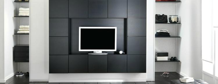 Muebles tv integrados con biblioteca 75 ideas modernas for Muebles modulares modernos
