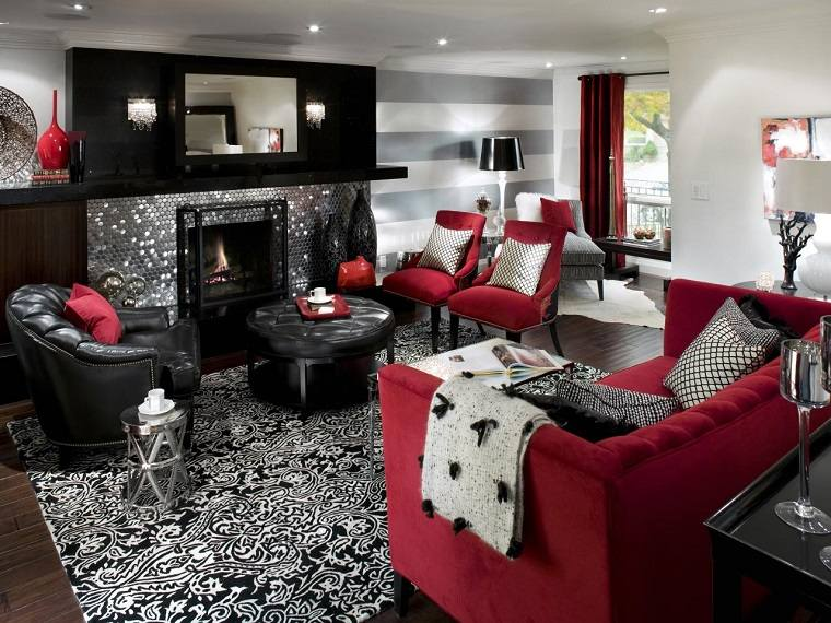 salon muebles rojo negro modernos ideas