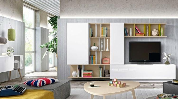 Muebles tv integrados con biblioteca 75 ideas modernas - Muebles salon originales ...