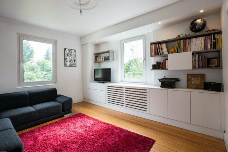 salon pequeño estantes modulares integrados