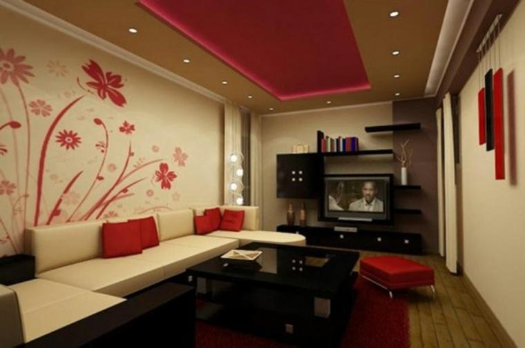salon pequeno pared blanca flores rojas ideas