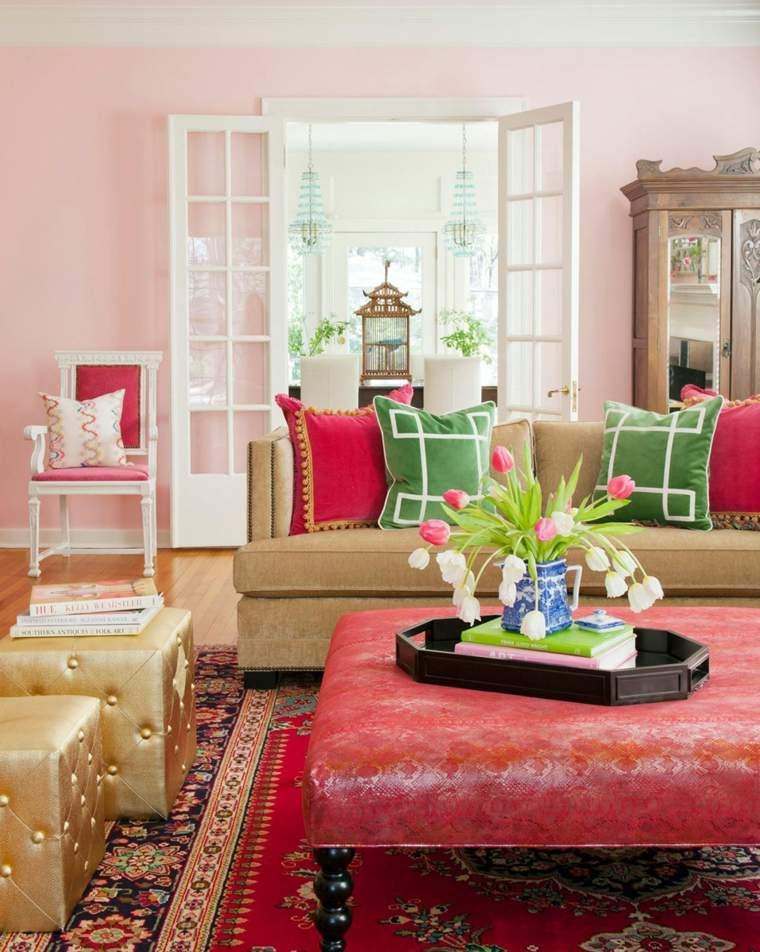 salon retro taburete alfombra vintage rojo ideas