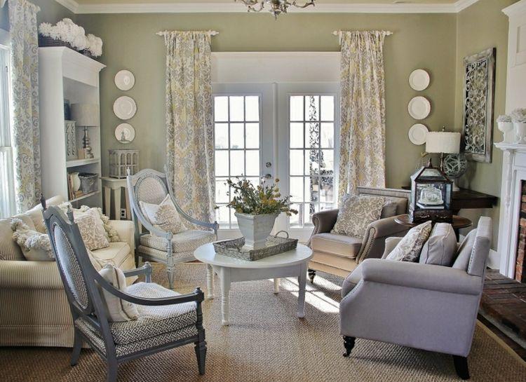 salon estilo vintage decoracion gris