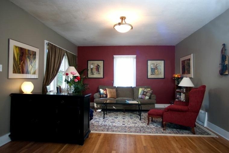 salon diseno retro pared sillon rojo ideas