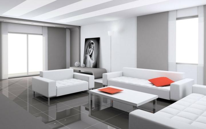 salones decorados en blanco contraste con grises - Imagenes De Salones Decorados