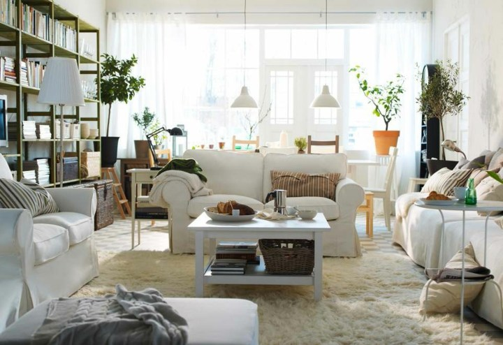 salones decorados en blanco ideas macetas lineas