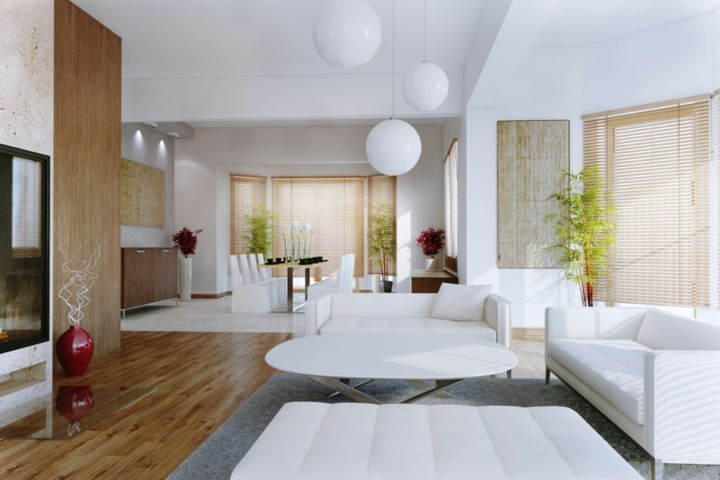 salones decorados en blanco macetas colgantes salones