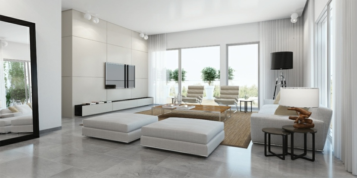 Salones decorados en blanco luminosos y elegantes