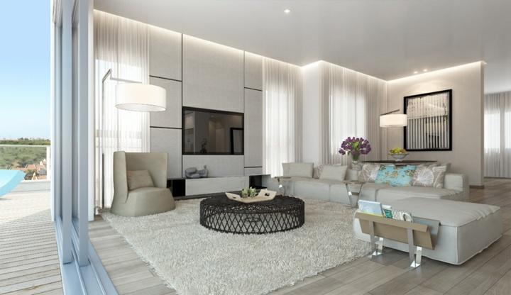 salones decorados en blanco muebles cortinas puertas
