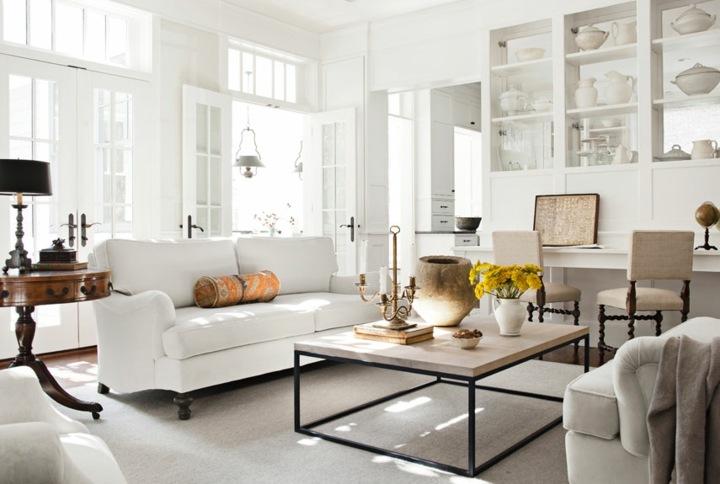 salones decorados en blanco muebles rustico madera