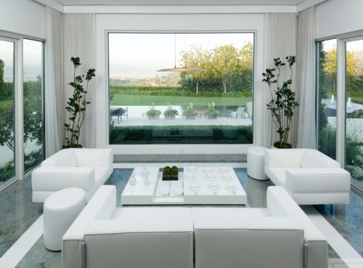 salones decorados en blanco plantas interiores vegetacion