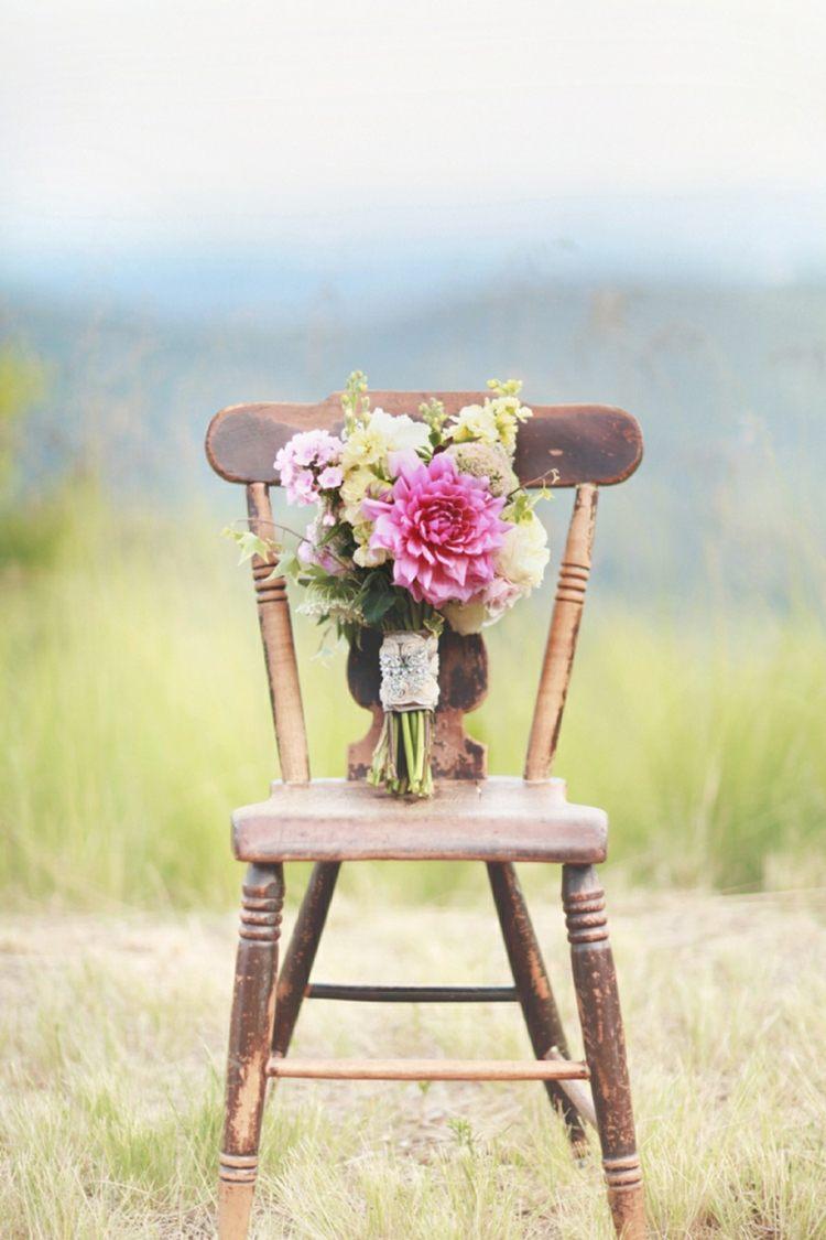 silla boda ramo estilo vintage