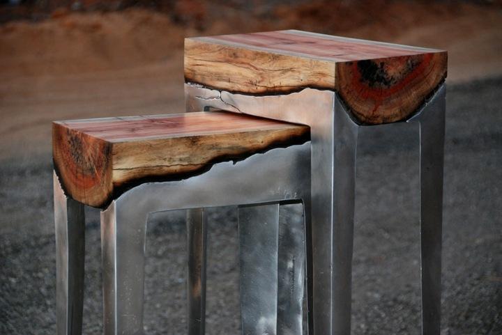 sillas aluminio madera cuero usoi bajas