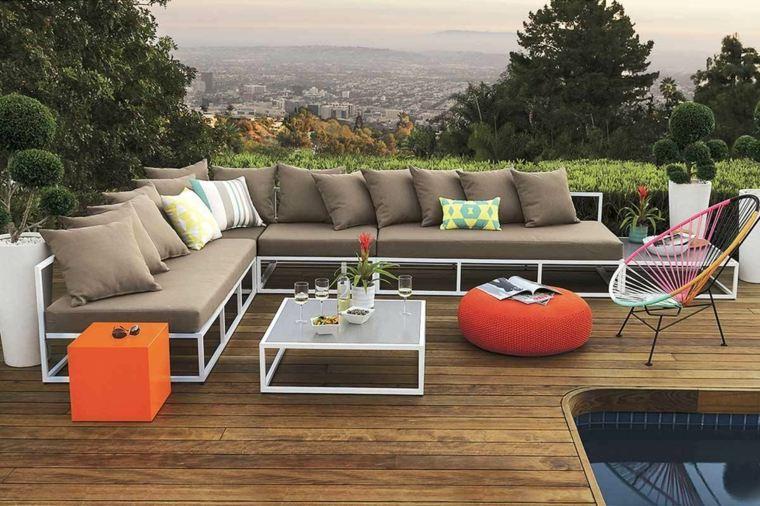 sofá de exterior color beige otomana naranja ideas
