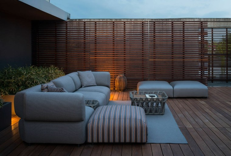 sofá de exterior color gris moderna ideas