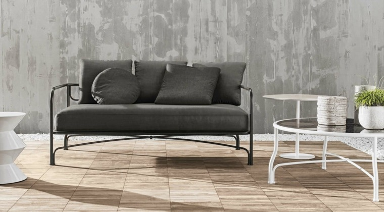 sofá de exterior color negro acero ideas