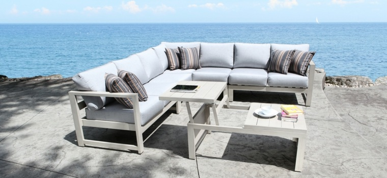 sofá de exterior gris mesa preciosa ideas