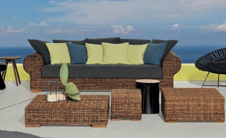 sofá de exterior mesa cojines negros ideas