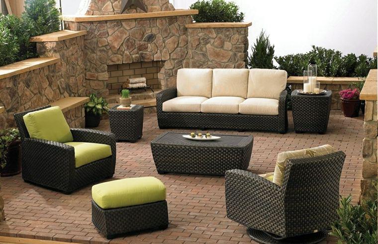 sofá de exterior moderna chimenea terraza ideas