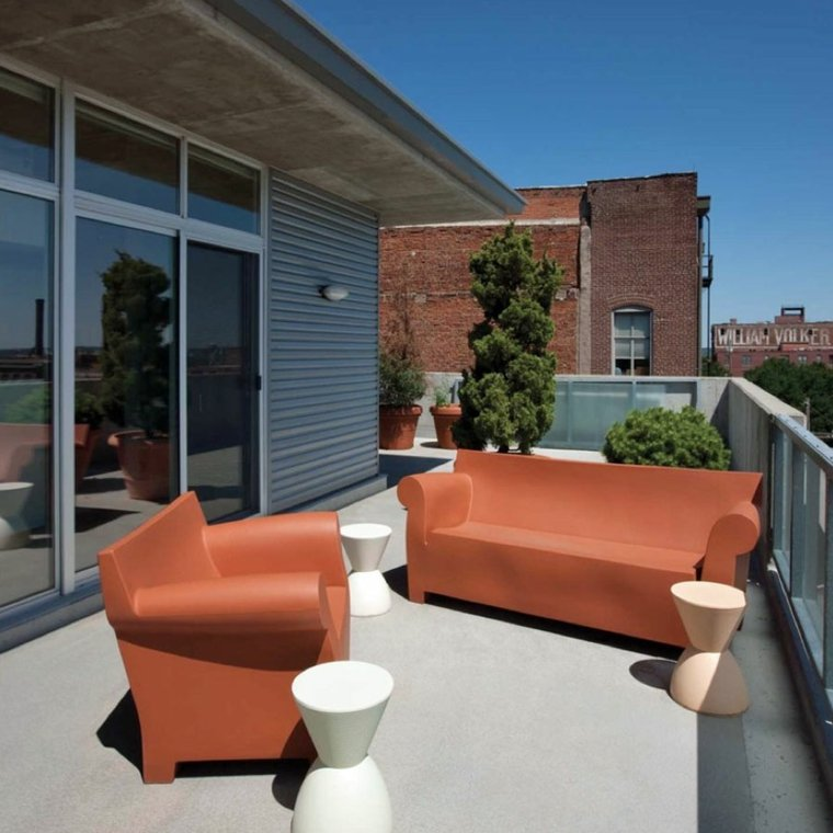 sofá de exterior moderna color naranja precioso ideas