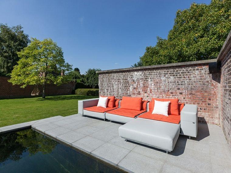 sofá de exterior moderna combinacion gris naranja ideas